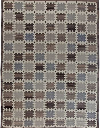 Contemporary Swedish Green, Blue & Black Flat-Weave Wool Rug N11307