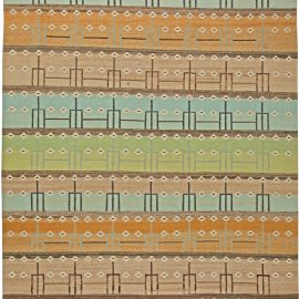Swedish Design Wool Rug in Brown, Orange, Light Blue and Green N11142