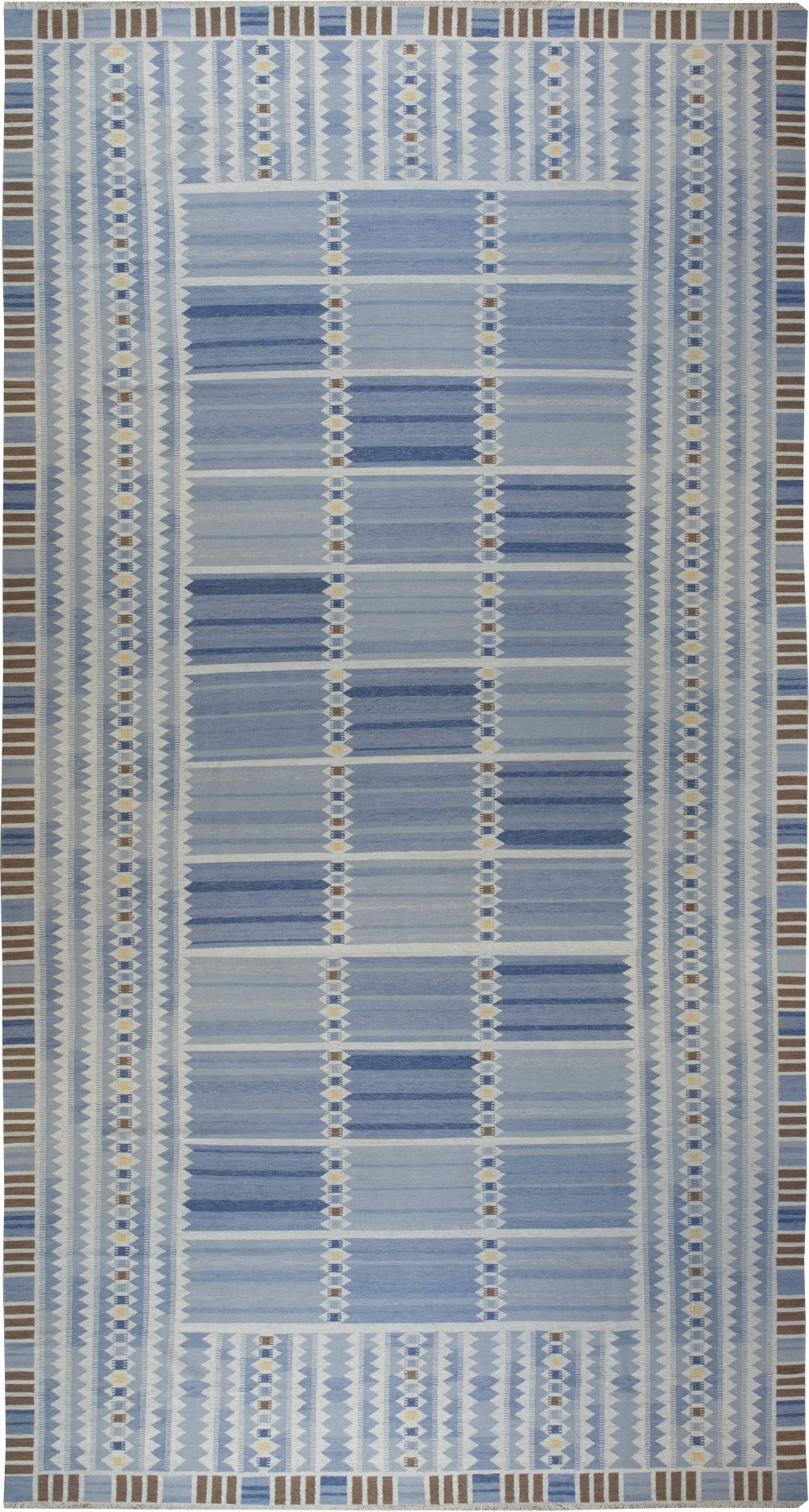 Oversized Swedish Blue, Brown and Yellow Flat-Weave N11234