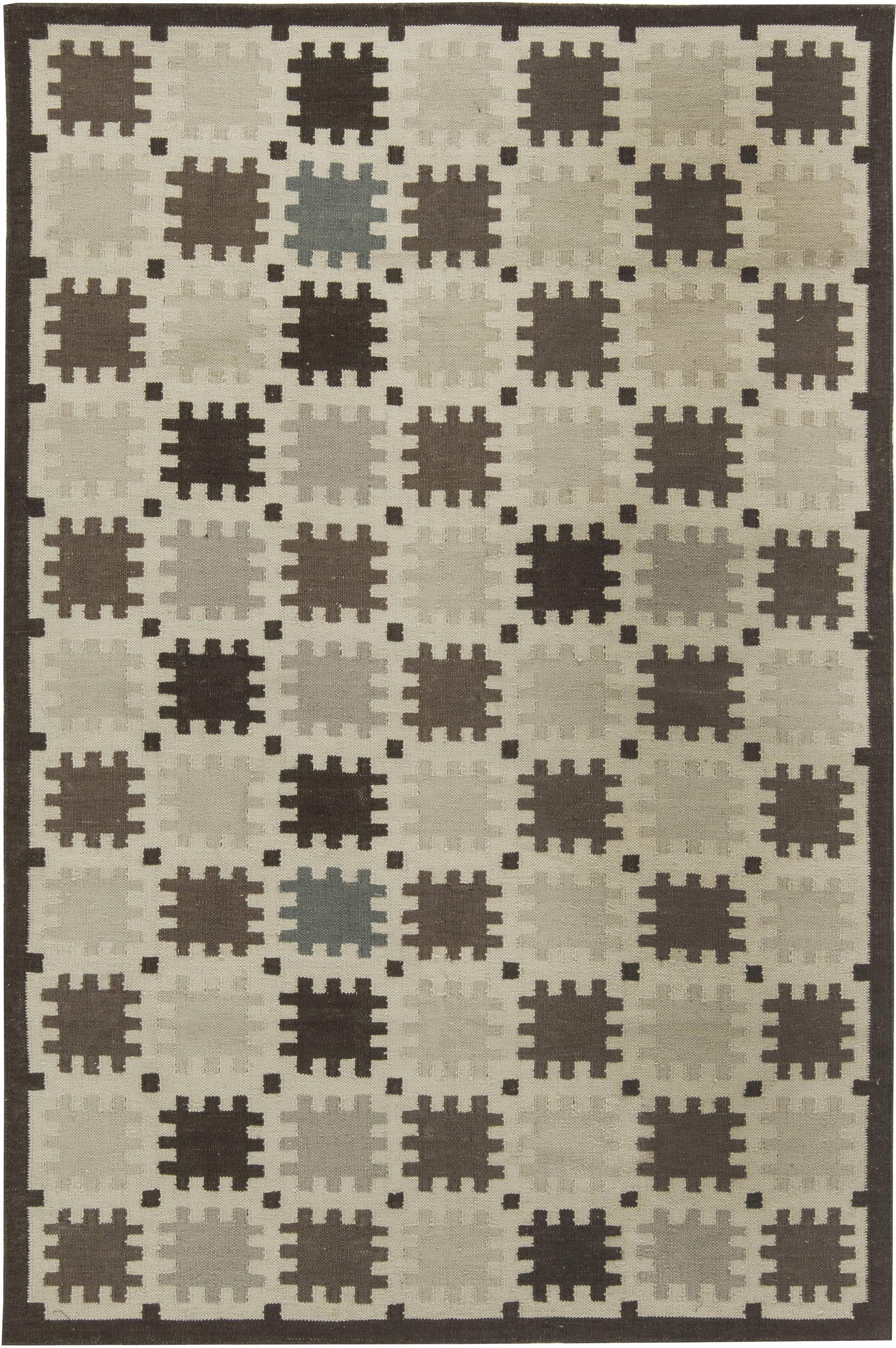 Indoor – Outdoor Flatweave Rug with Scandinavian Design N11651