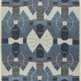 Contemporary Swedish Blue, Navy and Off-White Flat-Woven Wool Rug N11692