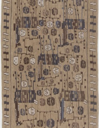 Swedish Design Beige, Red and Orange Flat-Weave Wool Rug N11624
