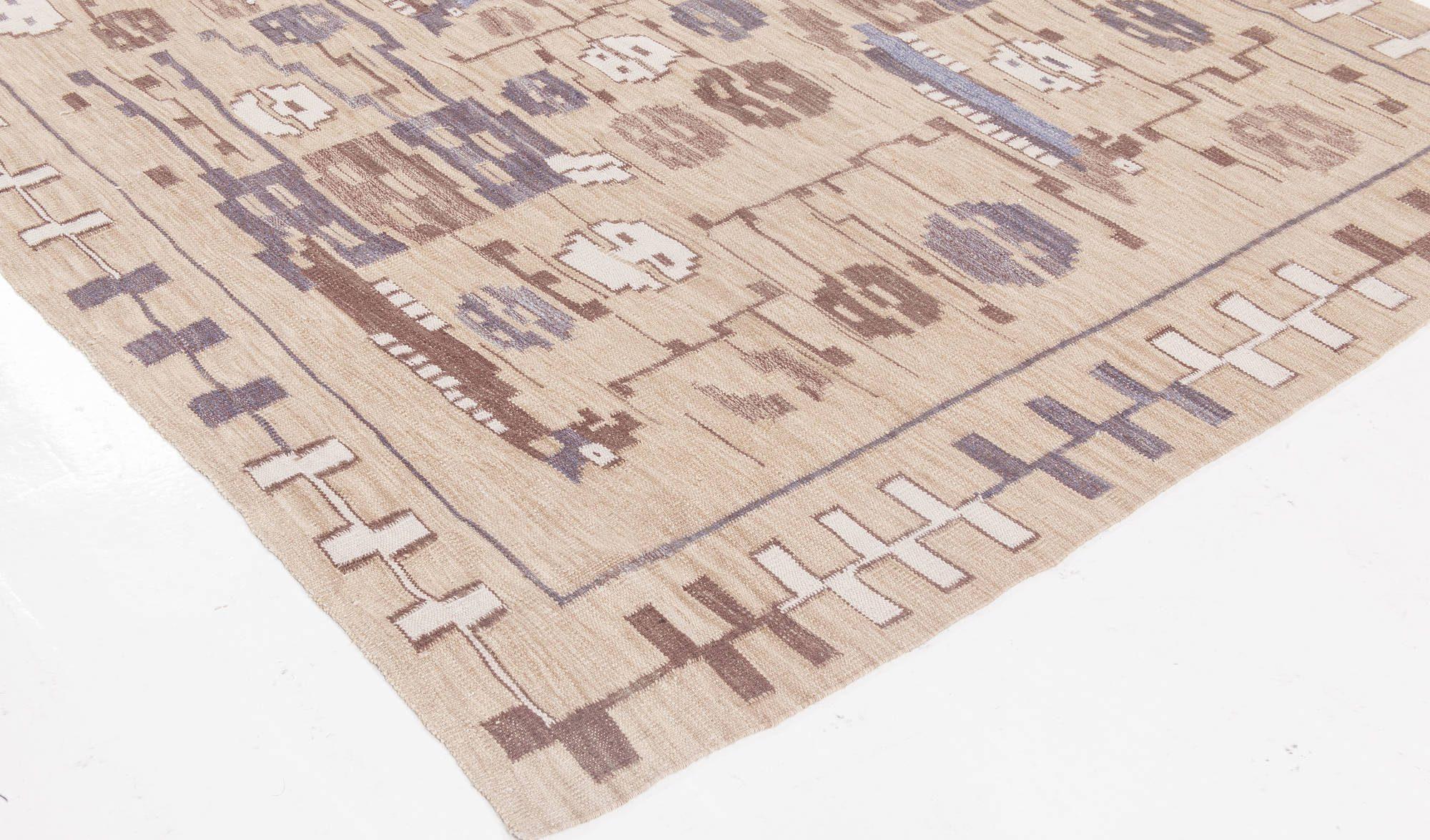 Swedish Design Camel, Beige, Brown and Blue Flat-woven Wool Rug N11673