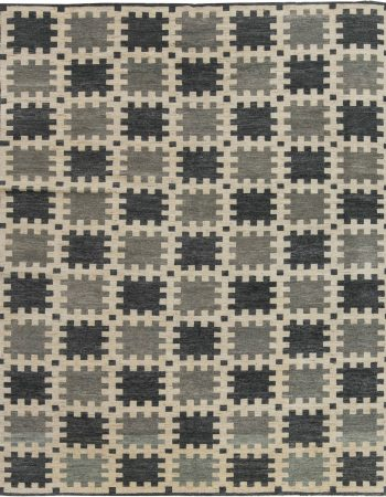 Modern Swedish Design Blue, White and Black Flat-Weave Rug N12029