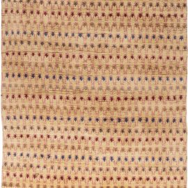 Contemporary Colorful Rainbow Hand Knotted Wool Rya Rug II N11662