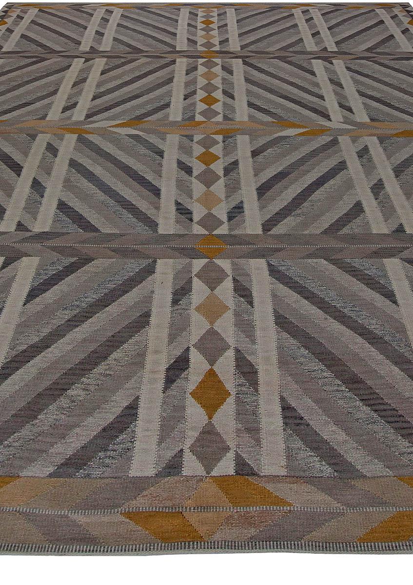 Modern Geometric Swedish Handwoven Wool Flat-woven Wool Rug N11103