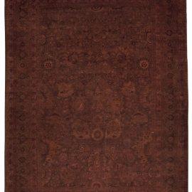 Modern Botanic Tabriz Burgundy and Brown Hand Knotted Wool Rug N10162