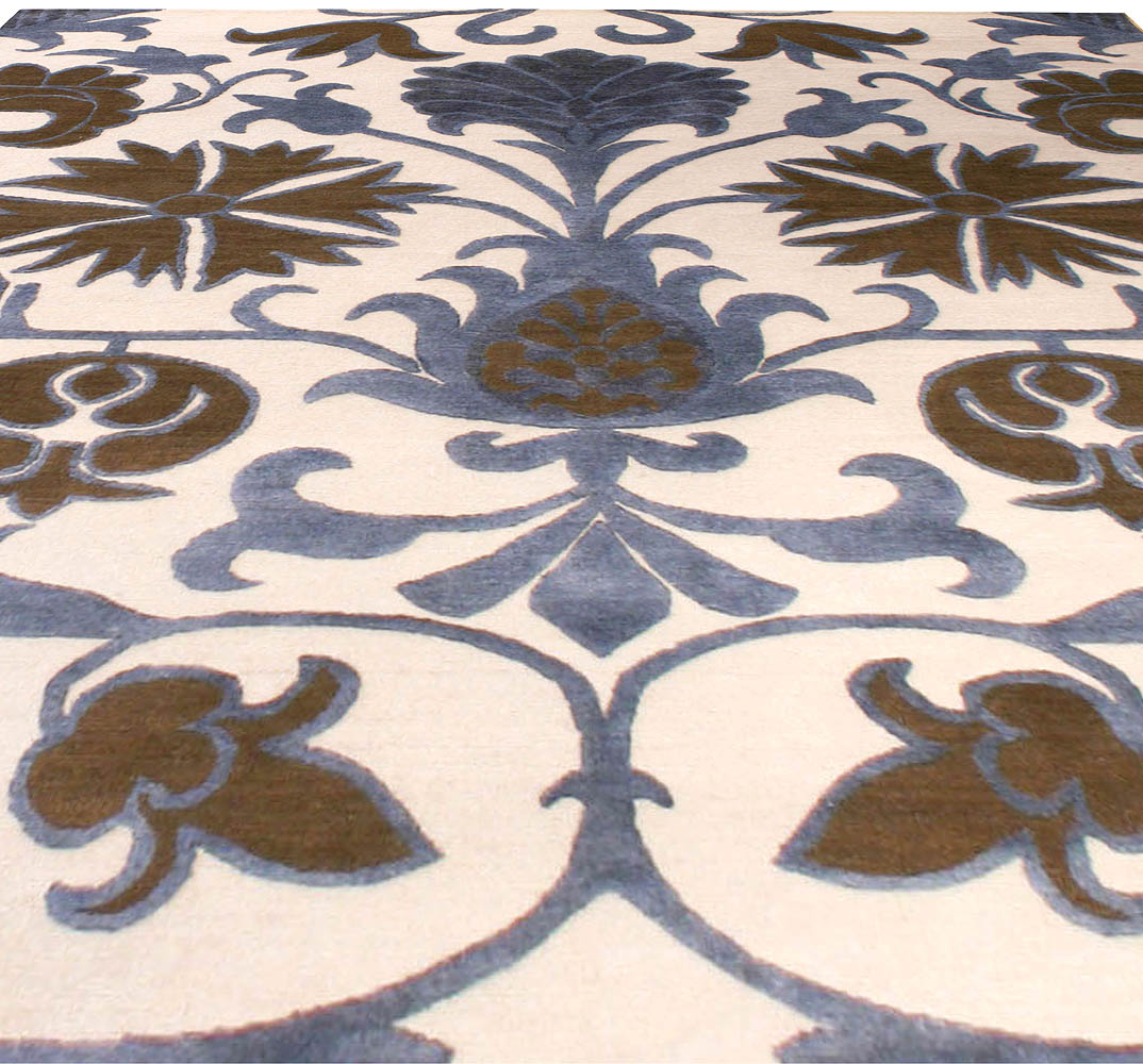 Contemporary Floral Tibetan Rug in Blue, Brown & White Color N10007