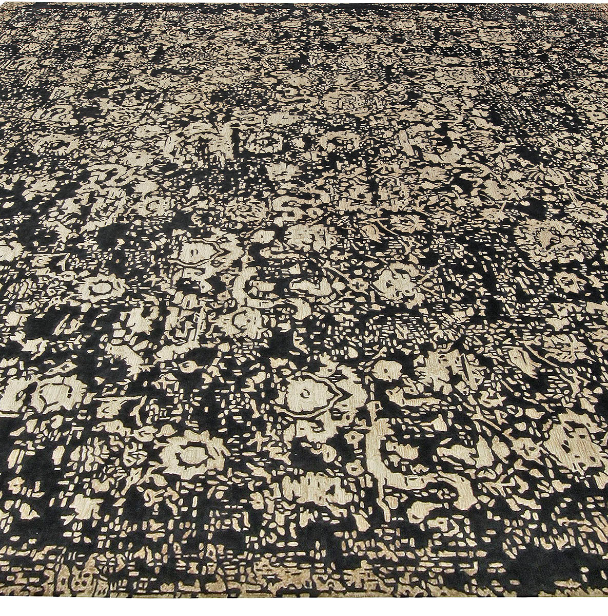 Contemporary Square Barneo Black and Beige Wool Rug N10738