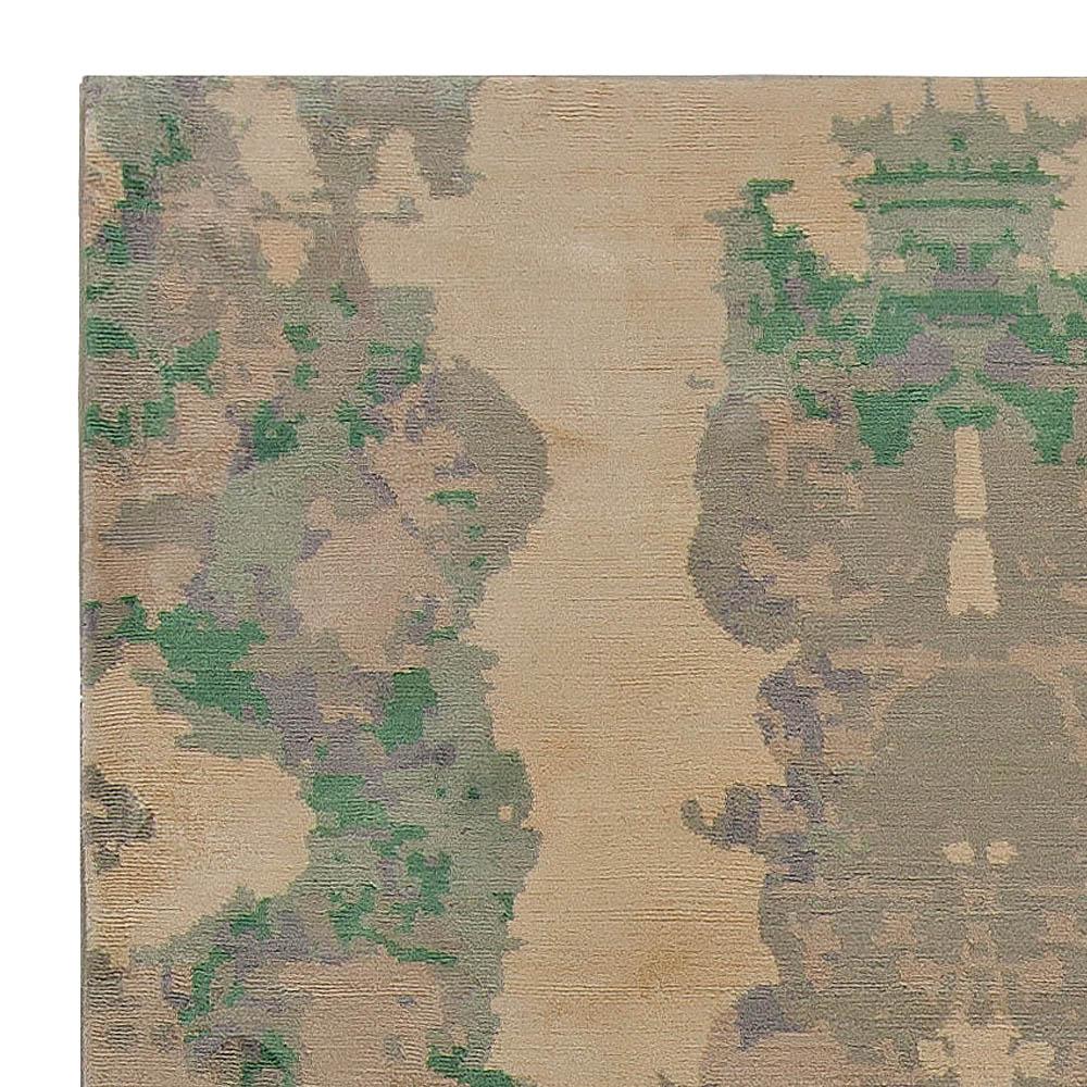 Modern Eskayel Jangala Green and Beige Handmade Hemp Rug N10875