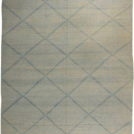 Contemporary Beige & Blue Deux Diamond Handwoven Wool Rug II N10867