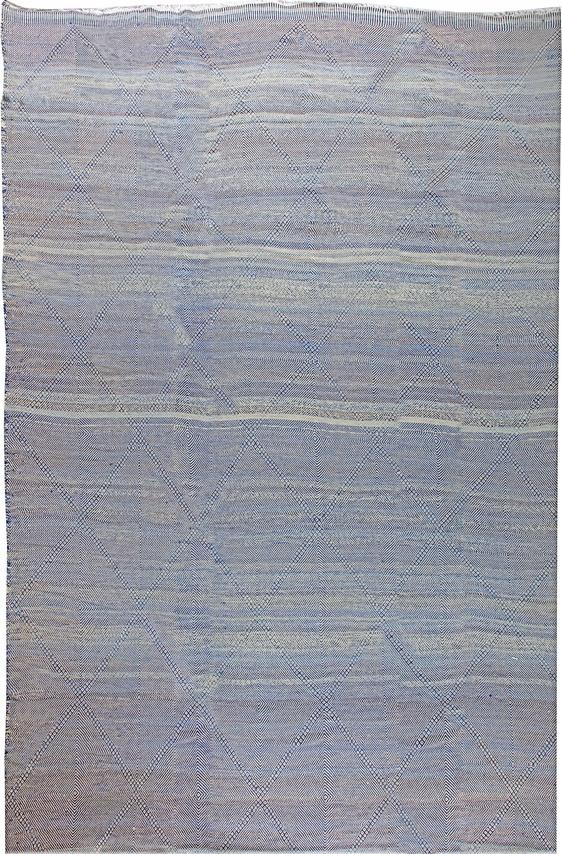 Oversized-Blue Deux Diamond-Moroccan Flat weave Rug N11355