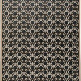 Modern Geometric Design Handmade Wool Rug in White and Black Shades N10908