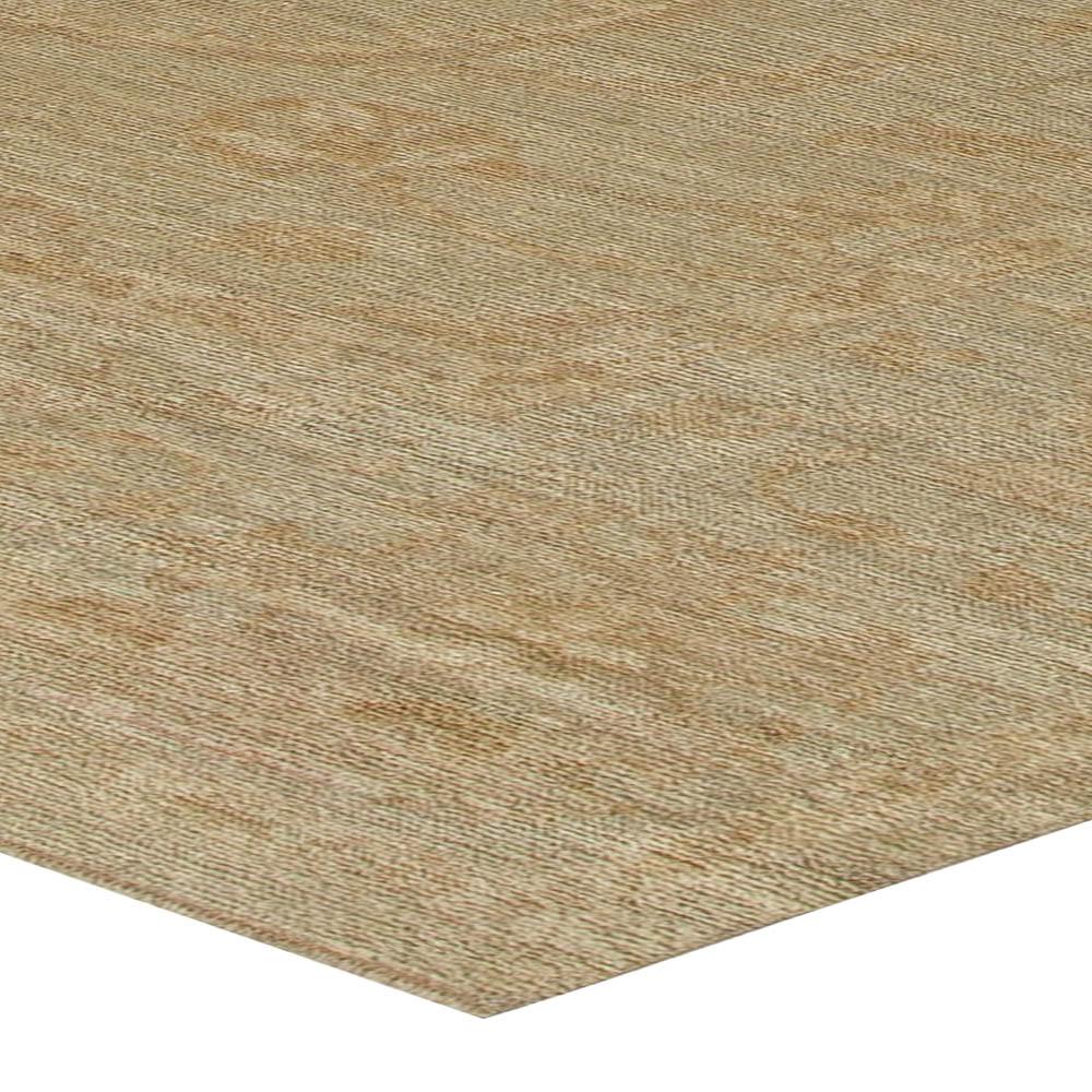 Contemporary Oushak Beige & Brown Handwoven Wool Rug N11071