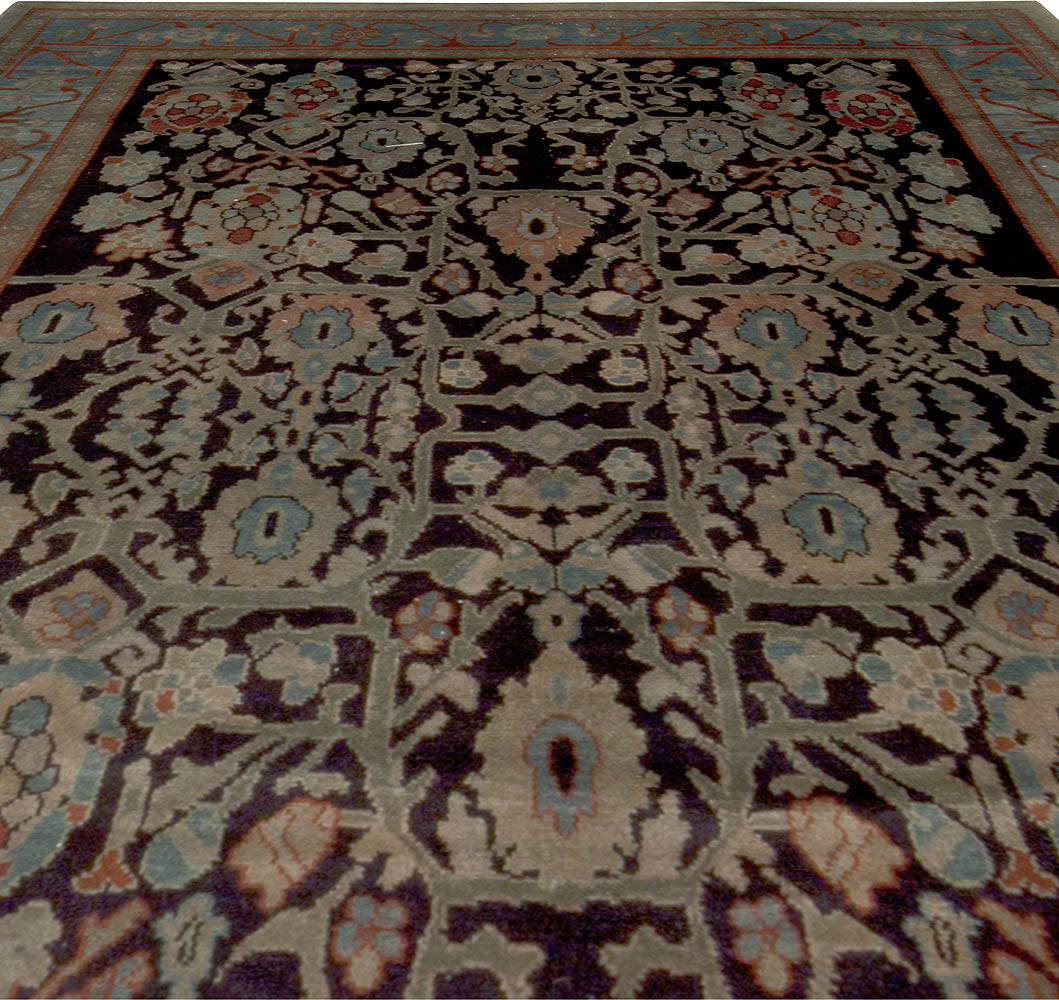 Contemporary Botanic Blue, Beige, Green and Black Egyptian Rug N10157