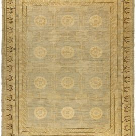 Modern JA6 Samarkand Gold, Brown and Beige Hand-knotted Wool Rug N10012