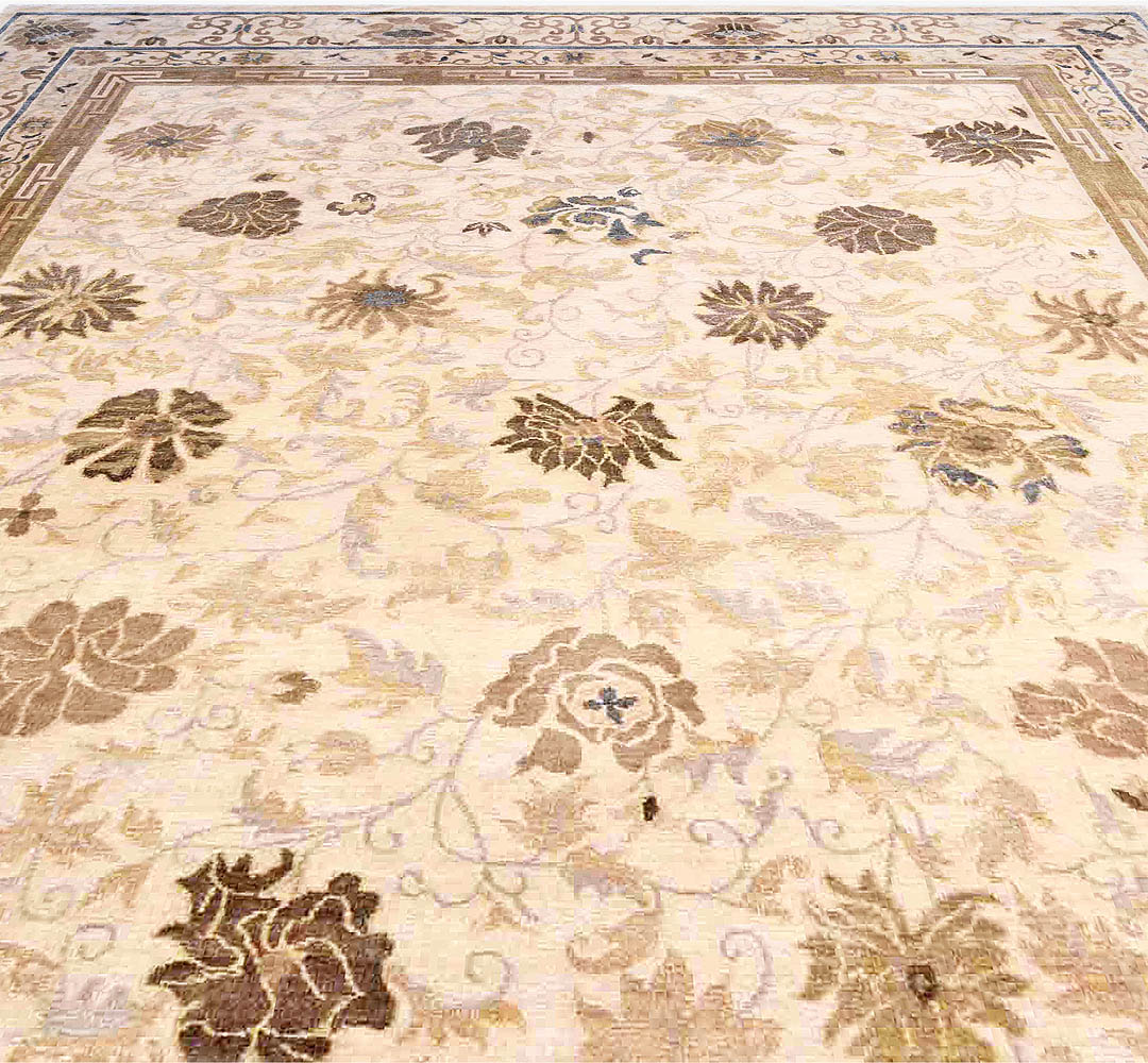 21st Century Lotus Design Beige, Gray and Blue Hand Knotted Rug N10970