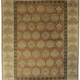 Contemporary Samarkand Khotan Brown and Beige Hand Knotted Wool Rug N10687