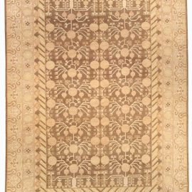 Contemporary Samarkand Beige and Brown Hand Knotted Wool Rug N10345