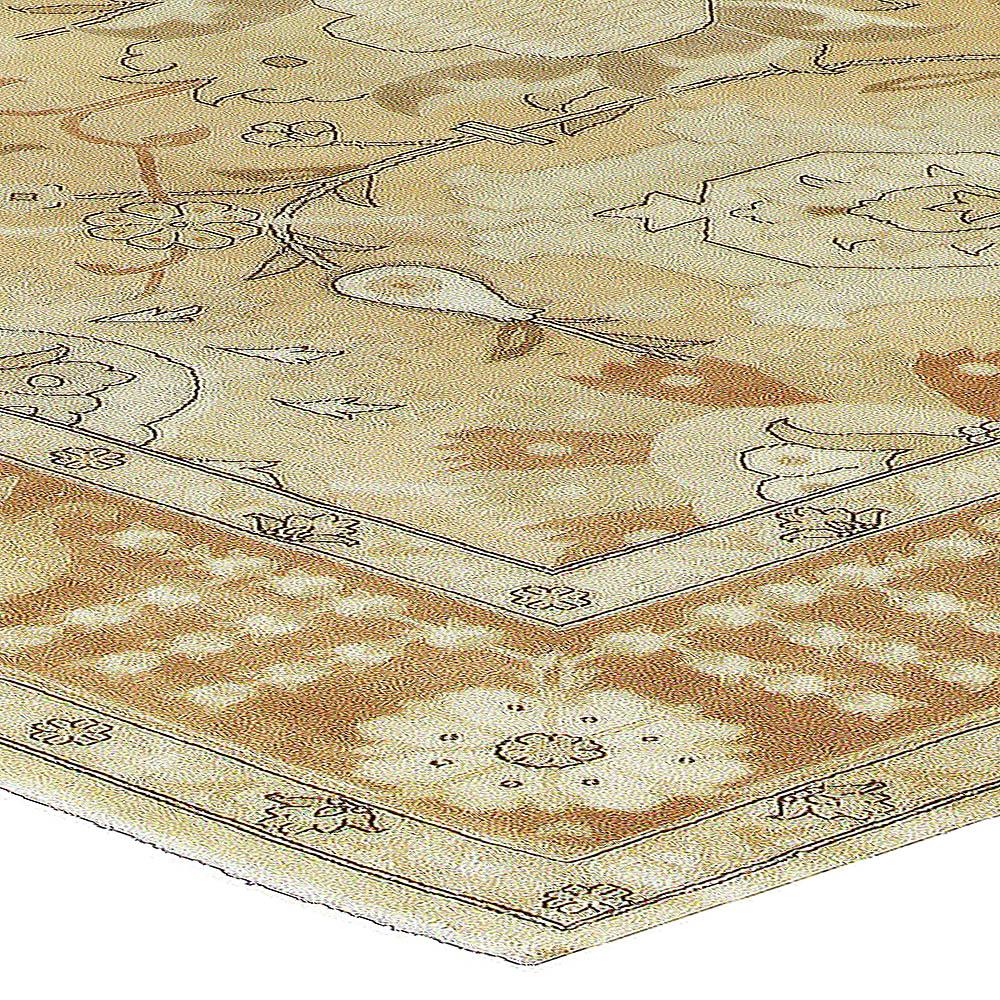 Tabriz Design Light Brown, Gold & Beige Hand Knotted Wool Rug N10712