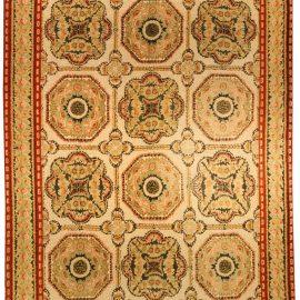 Bessarabian Design Yellow, Beige & Brick Red Handwoven Wool Rug N10655
