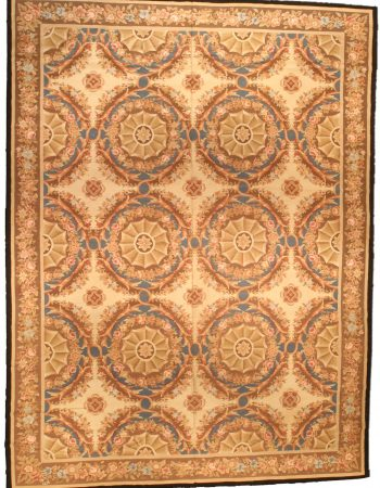 Contemporary Aubusson Beige and Brown Arthur Dunnam Rug N10641