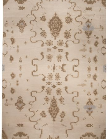 Contemporary Moroccan Blue and Beige Hand Knotted Wool Carpet N10934
