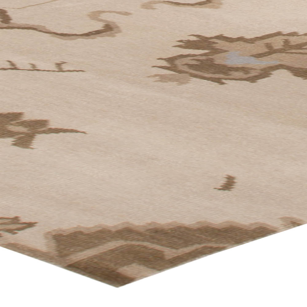 Modern Oushak Beige and Brown Hand Knotted Rug N10213