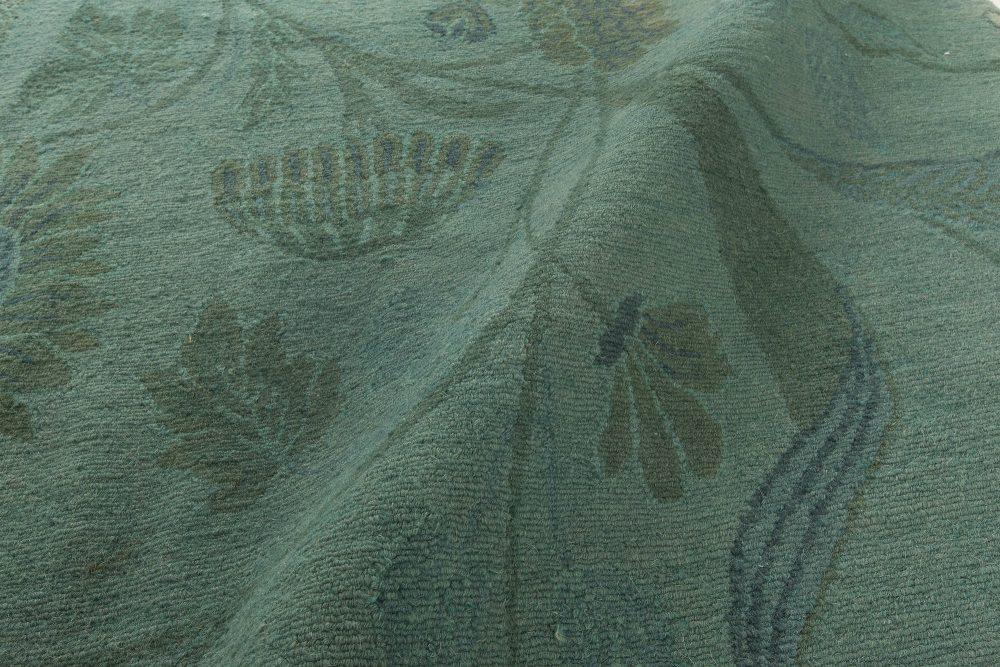 Modern European Inspired Tibetan Green Floral Rug N11424