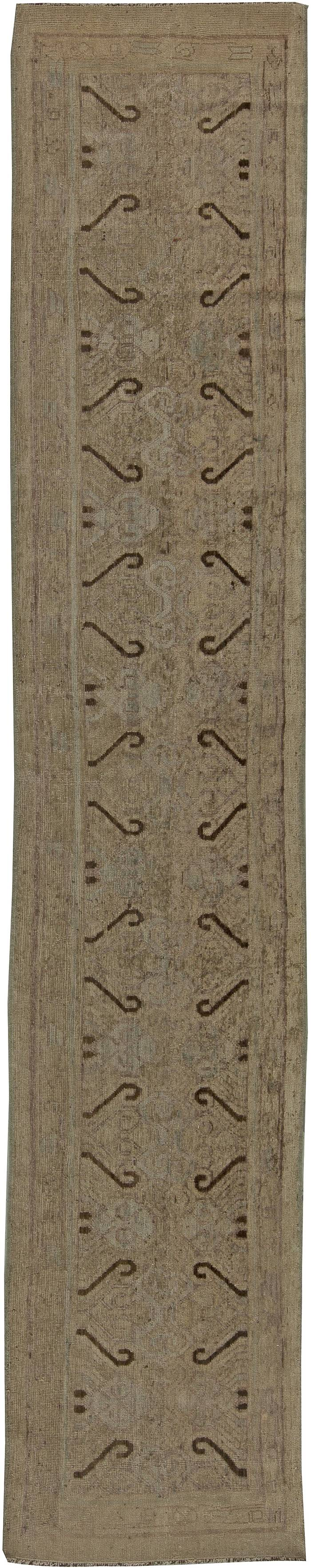 Contemporary Samarkand Chocolate Brown Handcrafted Wool Runner N11090