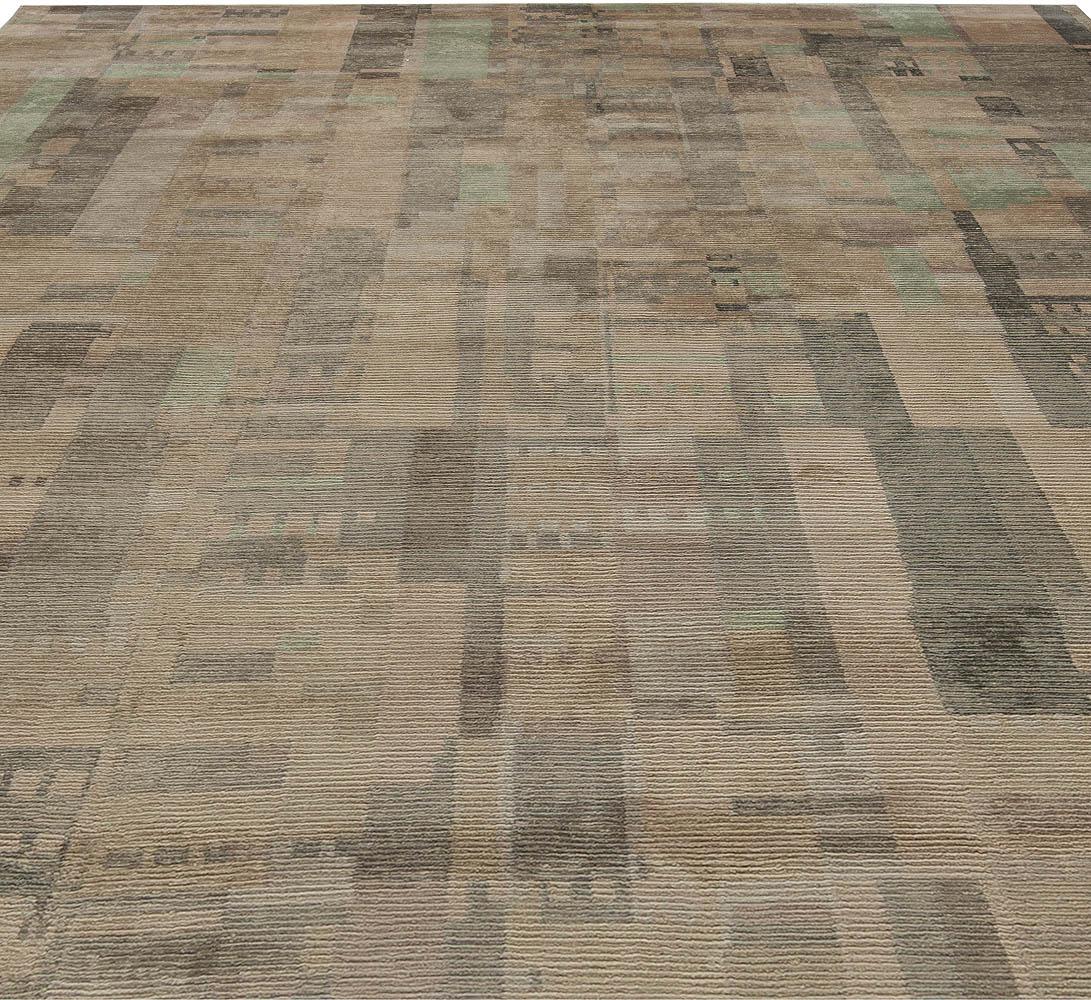 Contemporary Verdigris Brown and Beige Handwoven Wool Rug N10827