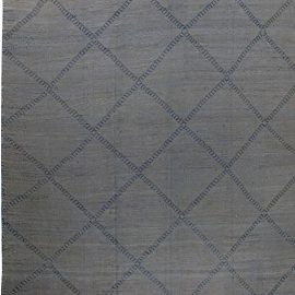 Modern Oversized Blue and Gray Deux Diamond Hand Knotted Wool Rug N11700