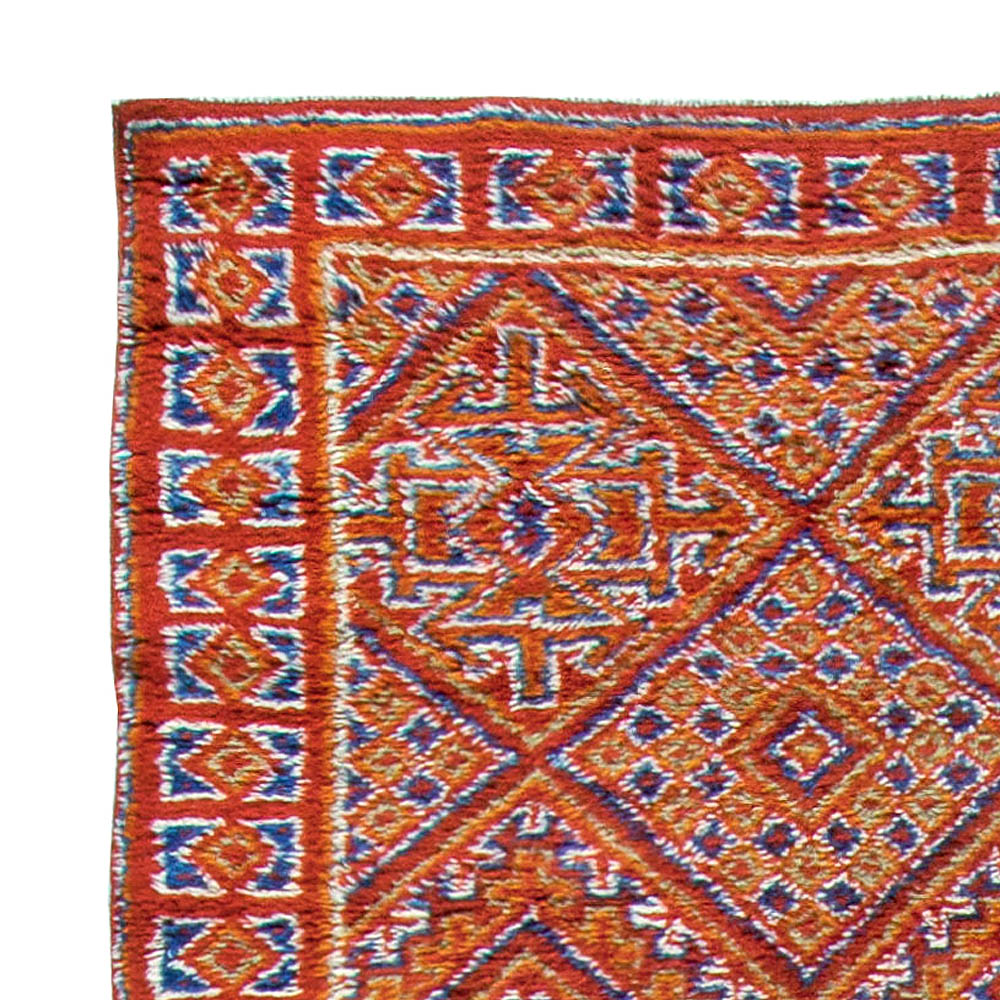 Vintage Moroccan Red, Orange and Blue Handwoven Wool Rug BB5689