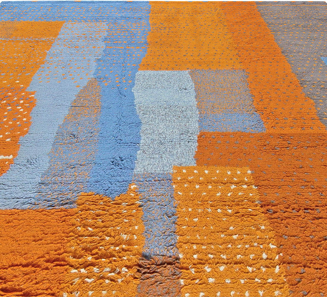 Modern Moroccan Rug in Blue, Orange, Grey and White N10998