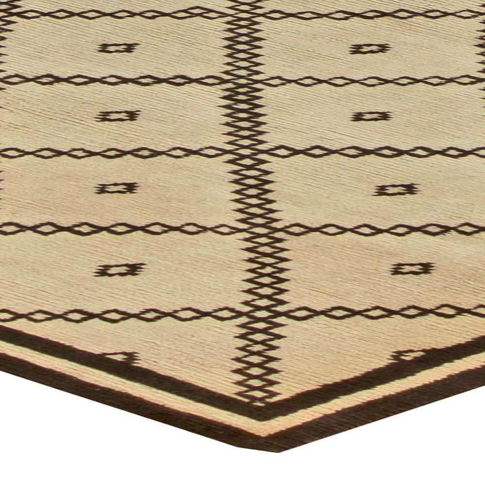 Modern Moroccan Handmade Wool Beige and Chocolate Brown Rug N11242
