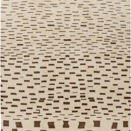 New Moroccan Chocolate Brown and Beige Handwoven Wool Rug N11369