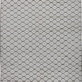 Modern Moroccan Geometric Black and White Hand Knotted Wool Rug N11350