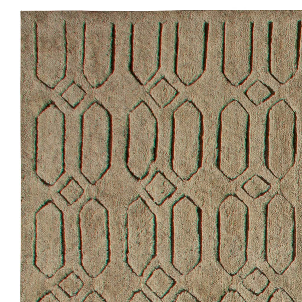 Contemporary Oversized Moroccan Geometric Hand Knotted Wool Rug N11114