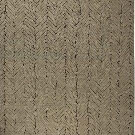 Geometric Moroccan Beige and Brown Handwoven Wool Rug N11113