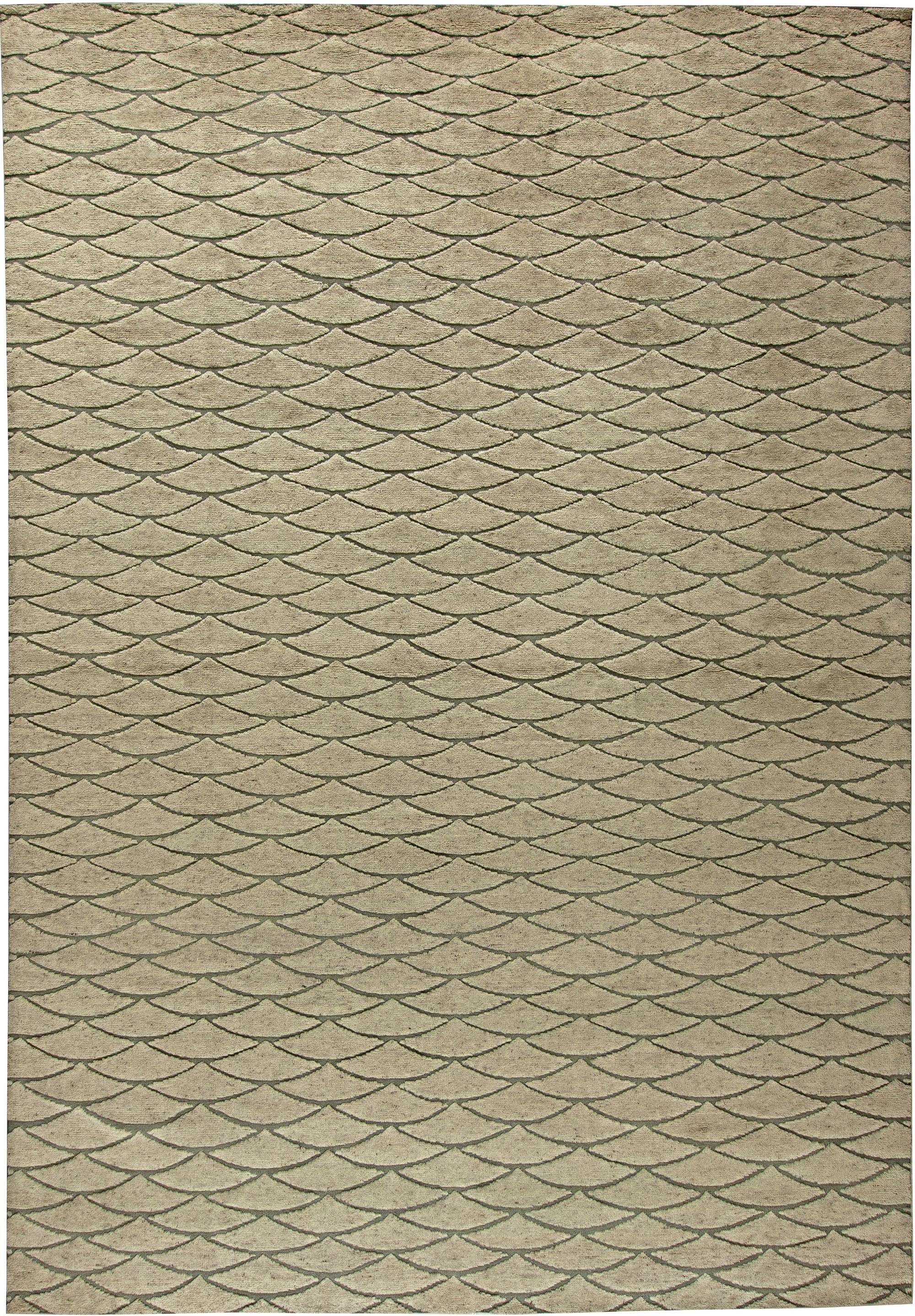 Moroccan Geometric Beige and Brown Hand Knotted Wool Rug N11118