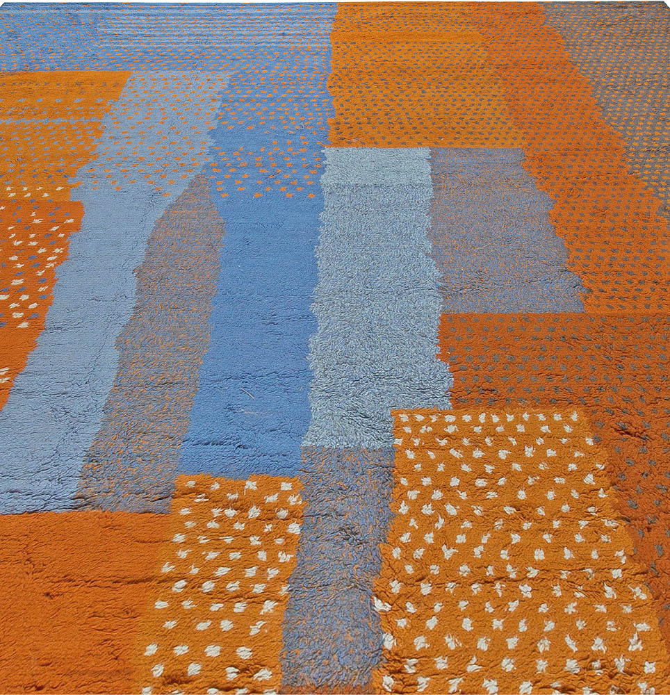 Contemporary Large Moroccan Blue and Orange Handwoven Wool Rug N11003