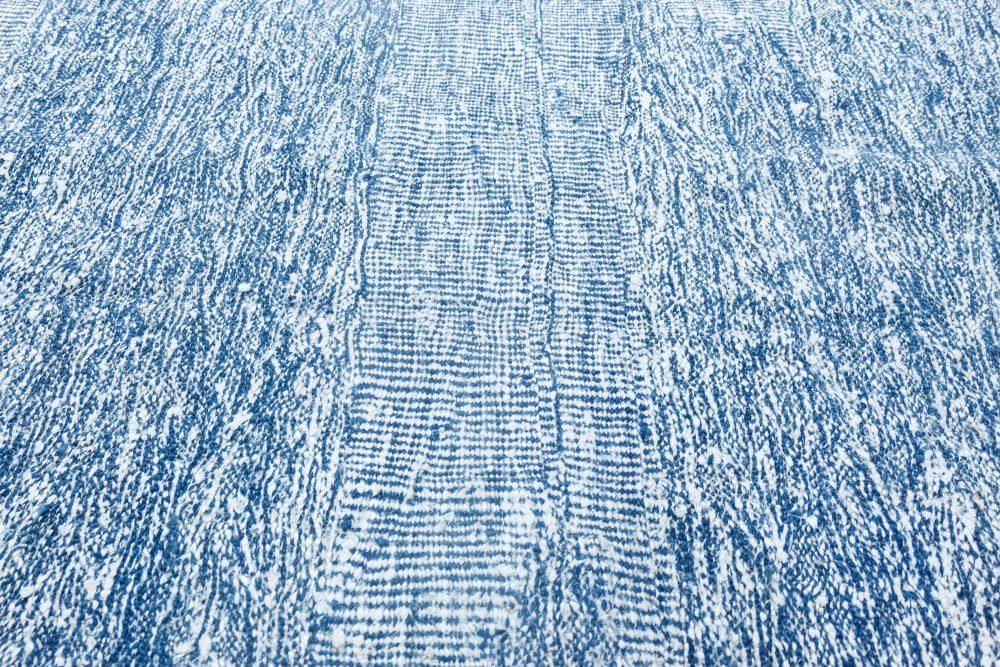 Contemporary Blue & Gray Flat-Weave Wool Rug N11862