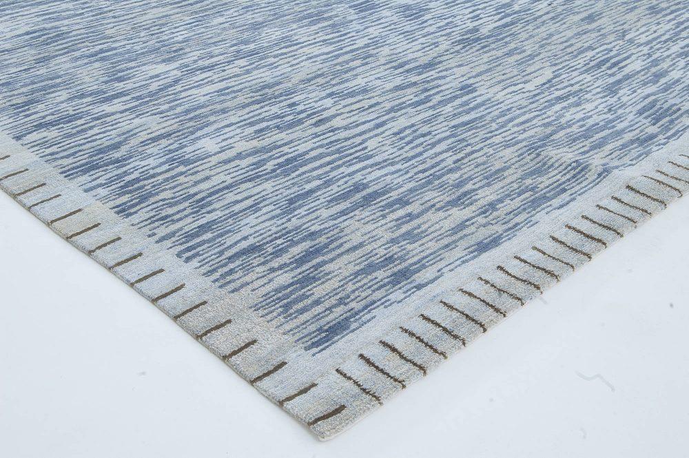 Modern Swedish Design Blue Hand Knotted Wool Pile Rug N11443