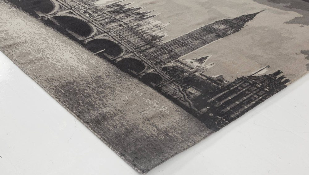 Contemporary Big Ben Black and Gray Handwoven Wool Rug N11654