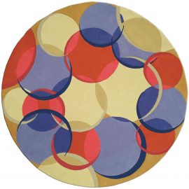 Contemporary Circular Coleman 21 Red, Blue and Beige Wool Rug N0157