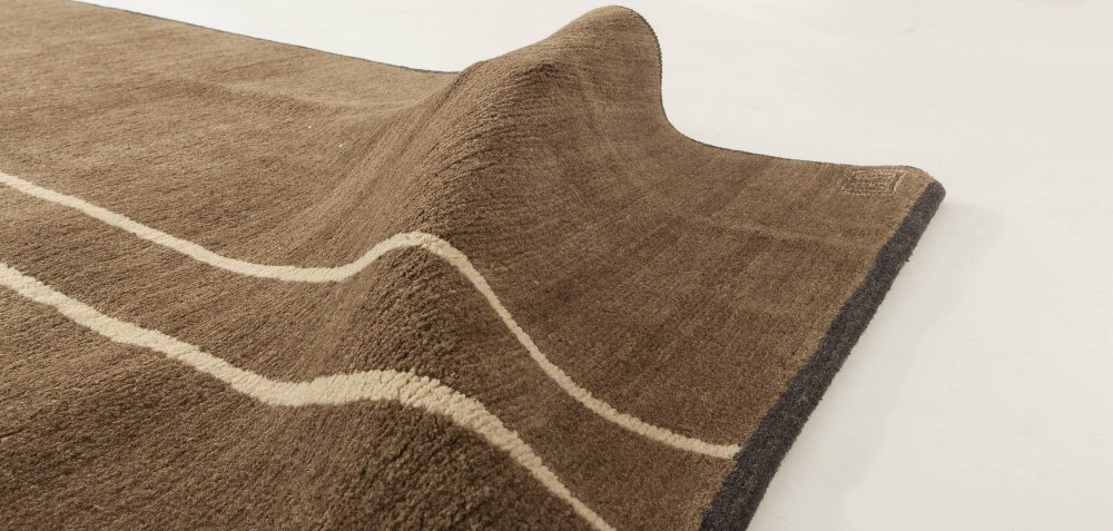 Contemporary Tibetan Brown Hand Knotted Rug by Parkin Saunders N11421