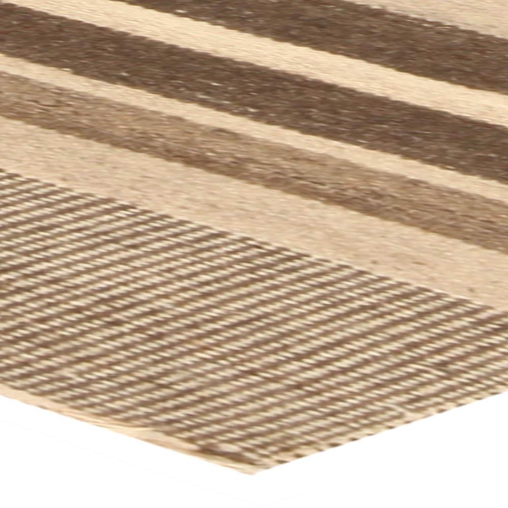 Tribal Tulu Nadu Style Rug with Ivory and Brown Stripes N10304