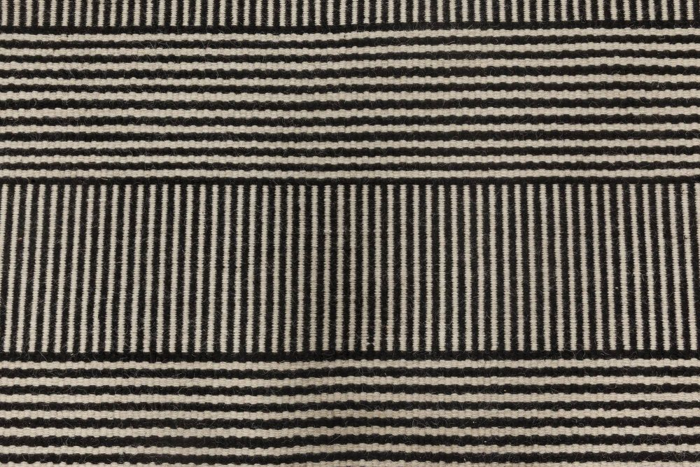 Contemporary Black and White Striped Custom Flat-Woven Wool Rug N11728