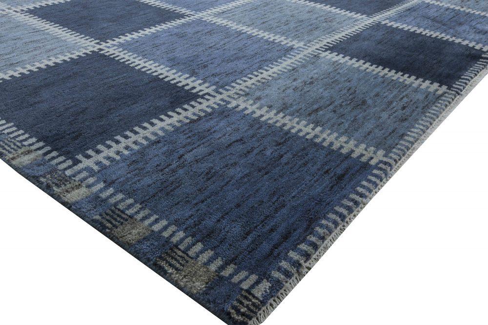 Oversized Swedish Gyllenrutand Design Dark and Pastel Blue Pile Rug N11430