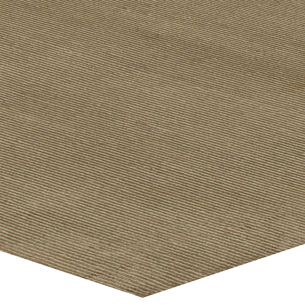 Modern Solid Dark Chocolate Hand Knotted Wool and Silk Rug N11330